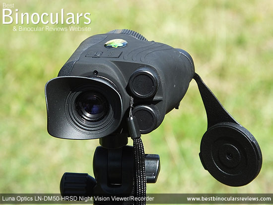 Luna Optics LN-DM50-HRSD Digital Night Vision Viewer/Recorder mounted on a tripod