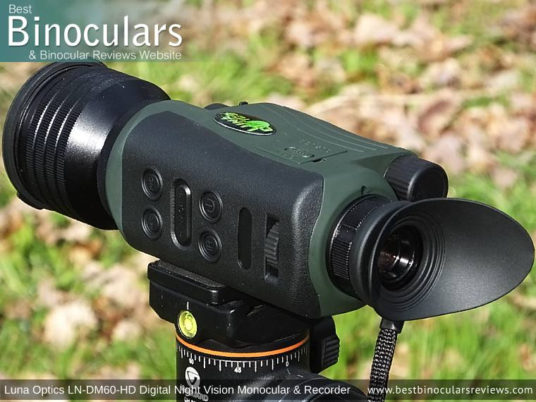 Luna Optics LN-DM60-HD Digital Night Vision Monocular & Recorder mounted on a tripod