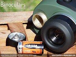 Battery Compartment on the Luna Optics LN-NVM5-HR Night Vision Monocular