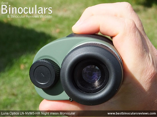 Me holdling the Luna Optics LN-NVM5-HR Night Vision Monocular