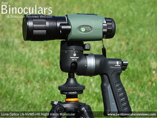 Luna Optics LN-NVM5-HR Night Vision Monocular mounted on a tripod using the Vanguard GH-100 Pistol Grip