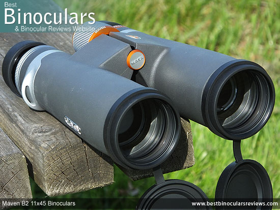 42mm objective lenses on the Maven B2 11x45 Binoculars