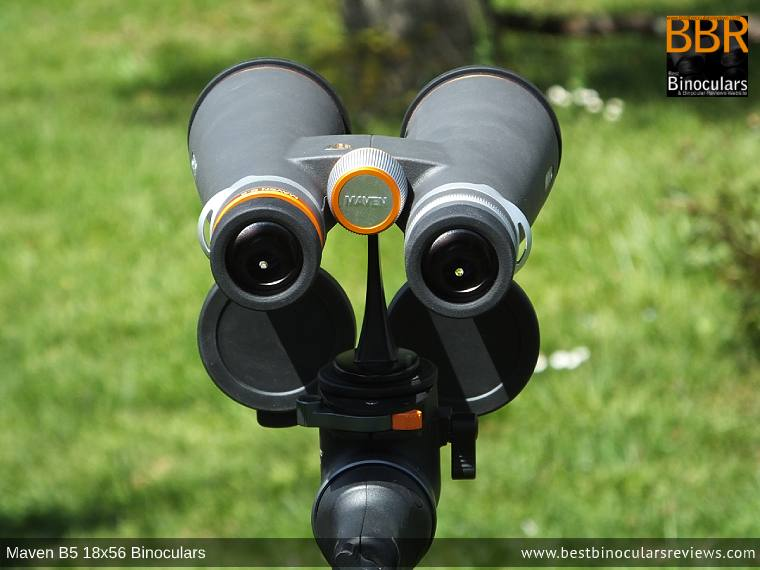 Maven B.5 18x56 Binoculars mounted on a Tripod