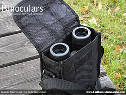 Meade Rainforest Pro 8x42 Binoculars inside their carry case