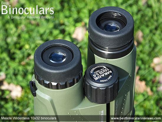 Eyecups on the Meade Wilderness 10x32 Binoculars