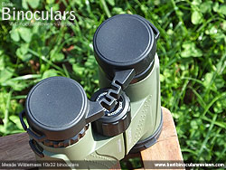 Eyepiece covers on the Meade Wilderness 10x32 Binoculars