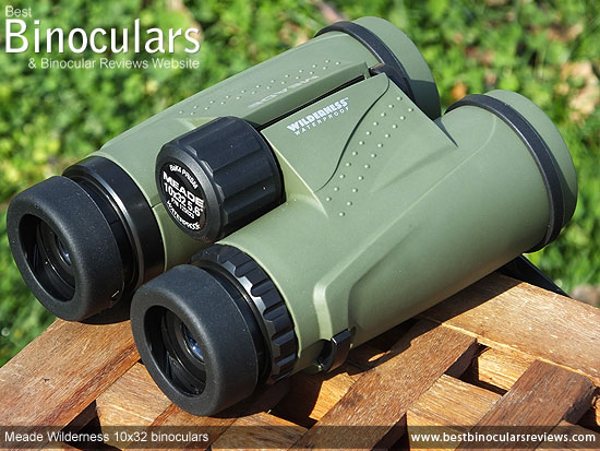 Rear view of the Meade Wilderness 10x32 Binoculars