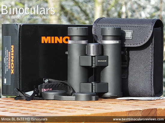 Minox BL 8x33 HD Binoculars, with carry case, harness, neck strap and lens covers