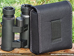Rear of the carry case for the Minox BL 8x33 HD Binoculars