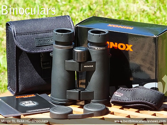 Minox BL 8x44 HD Binoculars with neck strap, carry case and rain-guard