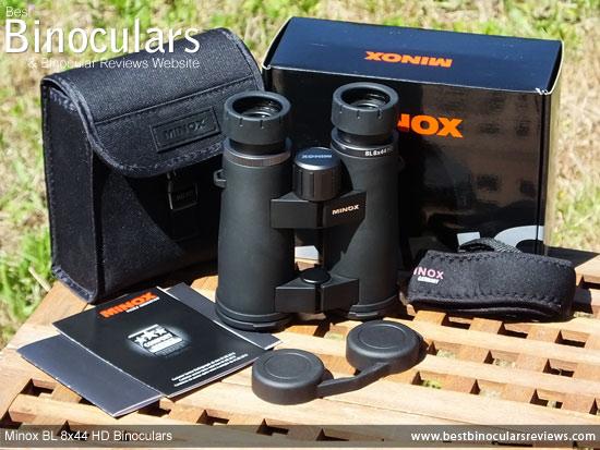 Minox BL 8x44 HD Binoculars with neck strap, carry case and rain-guard
