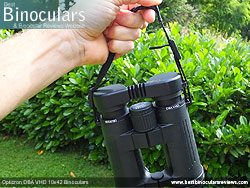 Opticron DBA VHD 10x42 Binoculars neck strap detail