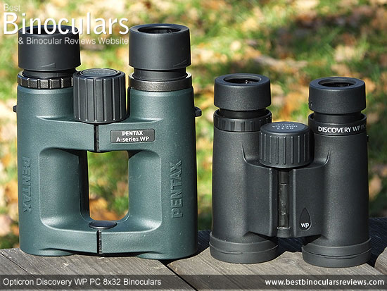 Size comparison between the 32mm Pentax A-Series and Opticoron Discovery Binoculars