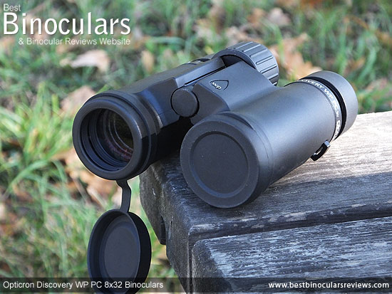 Lens Covers on the Opticron Discovery WP PC 8x32 Binoculars