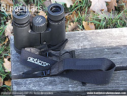 Neck strap on the Opticron Discovery WP PC 8x32 Binoculars