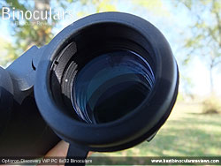 Deeply inset 32mm Objective lens on the Opticron Discovery WP PC 8x32 Binoculars