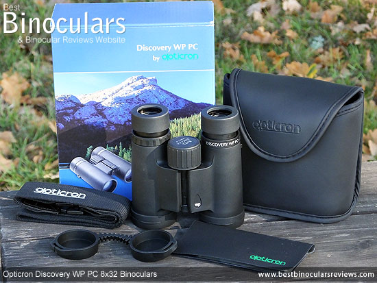 Opticron Discovery WP PC 8x32 Binoculars with neck strap, carry case and rain-guard