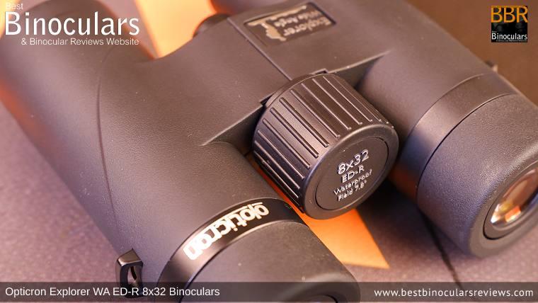 Focus Wheel on the Opticron Explorer WA ED-R 8x32 Binoculars