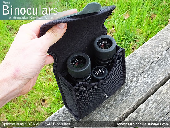 Inside the Opticron Imagic BGA VHD 8x42 Binoculars Carry Case