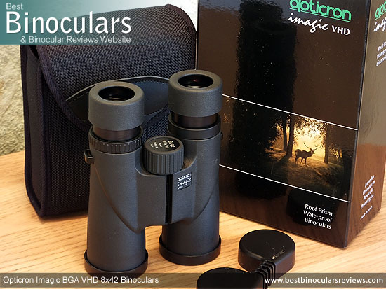 Carry Case, Neck Strap, Cleaning Cloth, Lens Covers & the Opticron Imagic BGA VHD 8x42 Binoculars