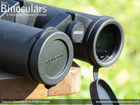 Lens Covers on the Opticron Savanna R 8x33 Binoculars