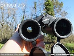 Deeply inset 32mm Objective lens on the Opticron Savanna R 8x33 Binoculars