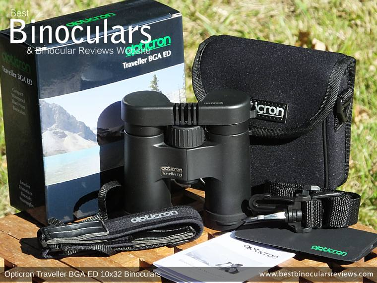 Opticron Traveller BGA ED 10x32 Binoculars and accessories plus packaging