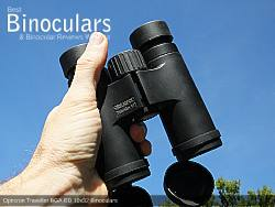 Holding the Opticron Traveller BGA ED 10x32 Binoculars