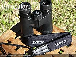 Neck strap on the Opticron Traveller BGA ED 10x32 Binoculars