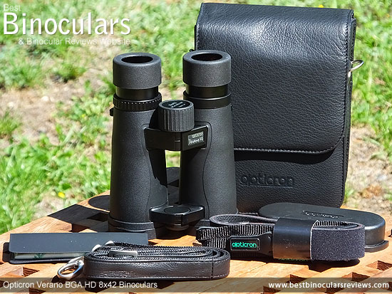 Opticron Verano BGA HD 8x42 Binoculars with neck strap, carry case and lens covers