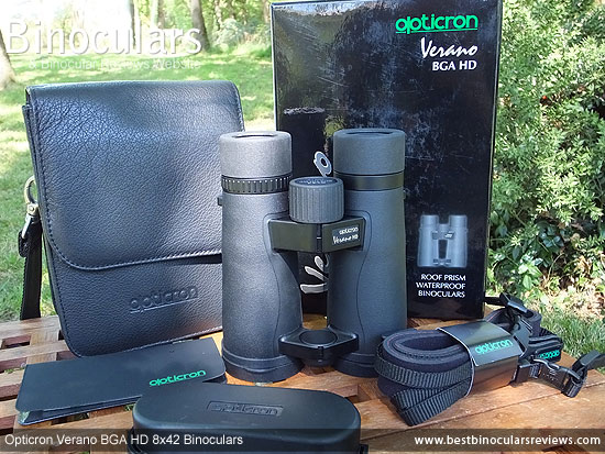 Carry Case, Neck Strap, Cleaning Cloth, Lens Covers & the the Opticron Verano BGA HD 8x42 Binoculars