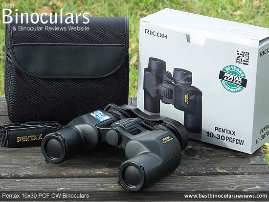 Pentax 10x30 PCF CW Binoculars with neck strap, carry case, cleaning cloth & lens covers
