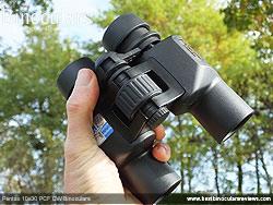Me holding the Pentax 10x30 PCF CW Binoculars