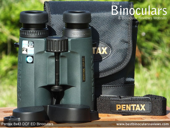 Pentax 8x43 DCF ED Binoculars with neck strap, carry case and rain-guard