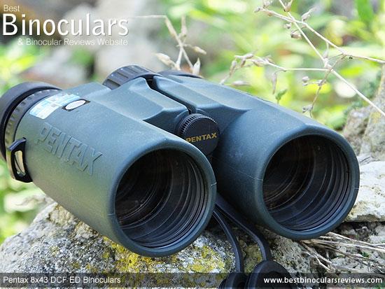 43mm Objective lenses on the Pentax 8x43 DCF ED Binoculars