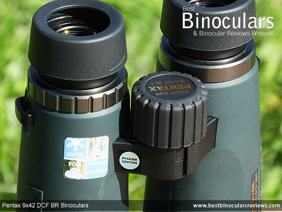 Focus Wheel on the Pentax 9x42 DCF BR Binoculars
