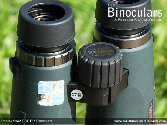 Focus Wheel on the Pentax 9x42 DCF BR Binoculars