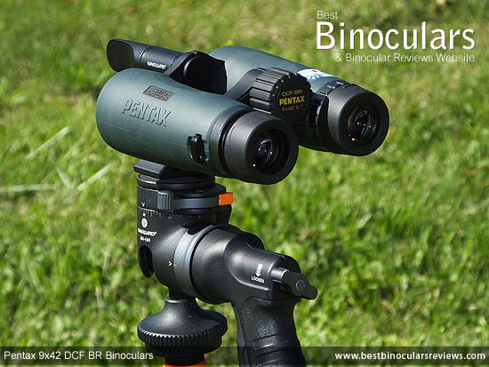 Pentax 9x42 DCF BR Binoculars mounted on a tripod