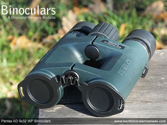 Lens Covers on the Pentax AD 9x32 WP Binoculars