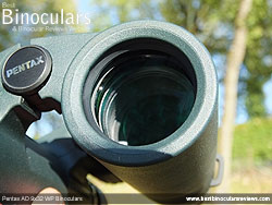 Deeply inset 32mm Objective lens on the Pentax AD 9x32 WP Binoculars