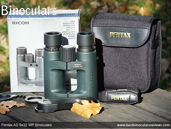 Pentax AD 9x32 WP Binoculars with neck strap, carry case and rain-guard
