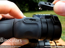 Click Lock Neck Strap Connector on the Pentax Papilio 8.5x21 Binoculars