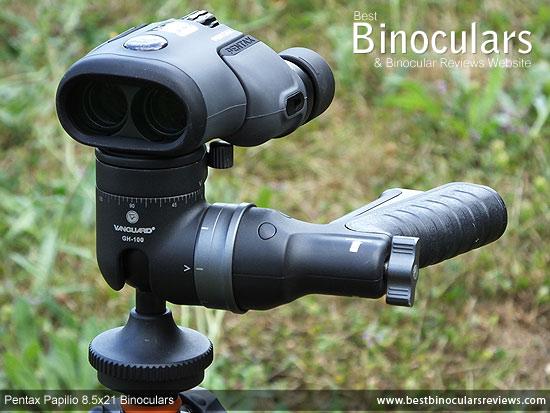 Pentax Papilio 8.5x21 Binoculars mounted on a Tripod