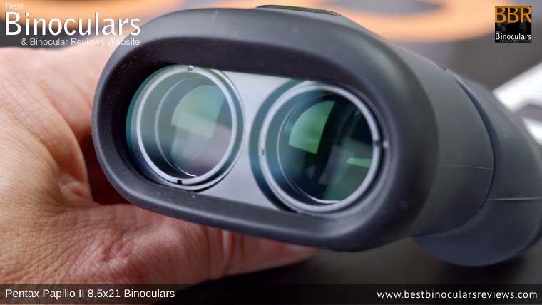 21mm objective lenses on the Pentax Papilio II 8.5x21 Binoculars