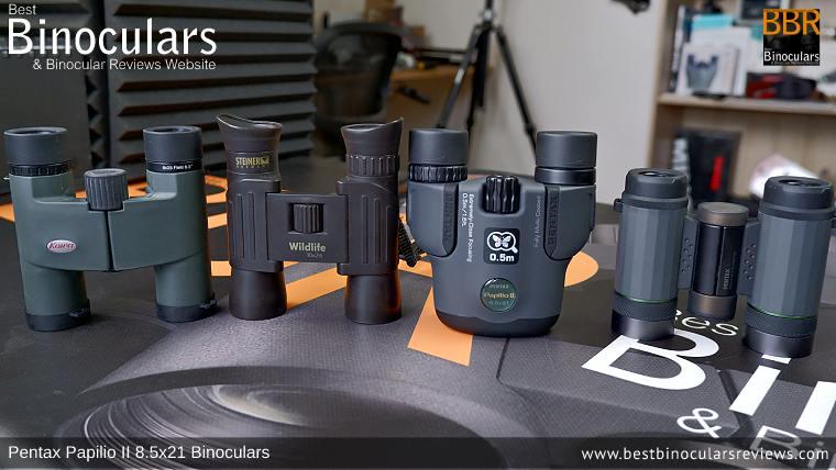 Compact Binocular Size Comparison (Open): Kowa BD 8x25 vs  Steiner Wildlife 10x26 vs Pentax Papilio II 8.5x21 vs Pentax VD 4x20 Binoculars