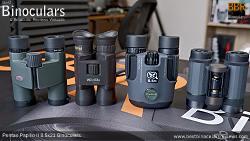 Compact Binocular Size Comparison (Folded): Kowa BD 8x25 vs  Steiner Wildlife 10x26 vs Pentax Papilio II 8.5x21 vs Pentax VD 4x20 Binoculars