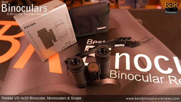 Pentax VD 4x20 Binoculars, Monocular & Spotting Scope with neck strap, carry case and lens covers