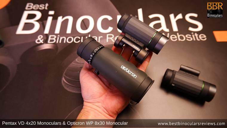 Pentax VD 4x20 Monoculars vs Opticron WP 8x30 Monocular