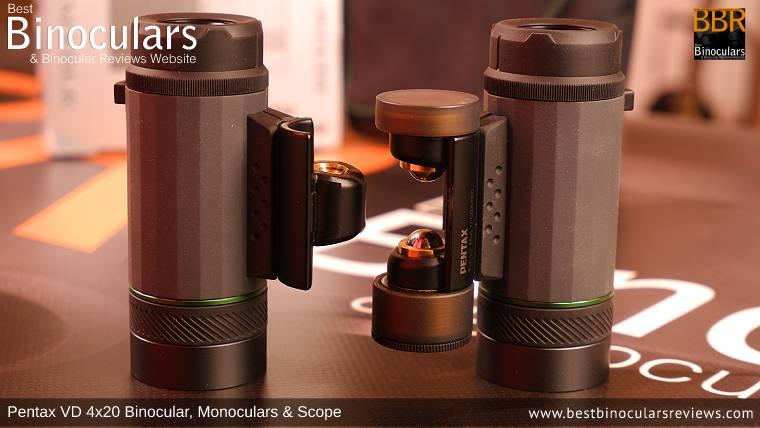 Pentax VD 4x20 Binocular split into two Monoculars