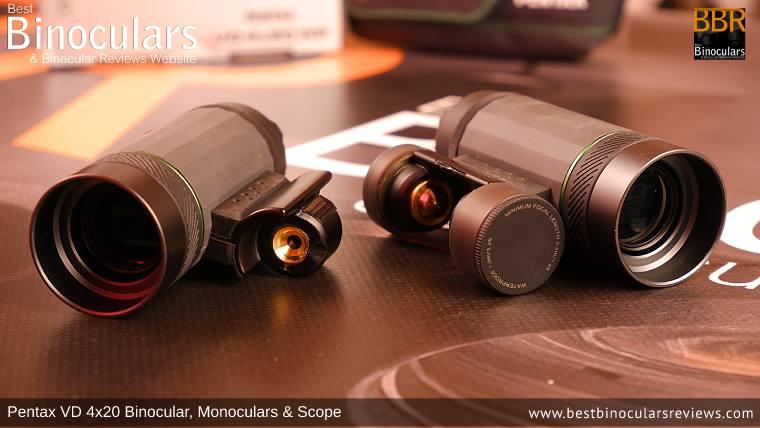 Pentax VD 4x20 Binocular split into two 4x20 Monoculars